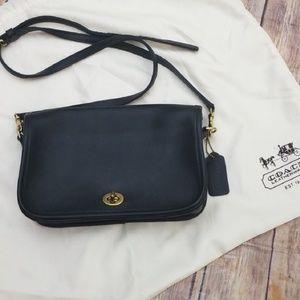 Coach black leather crossbody bag